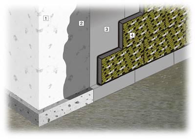 текло на стене подвала с обмазочной гидроизоляцией